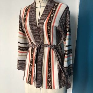 1970s Cowichan wrap sweater with belt